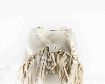 Glittery beige ecru cross-body bag