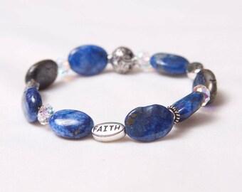 The Gertrude Handmade Lapis Lazuli Gemstone & Swarovski Crystal Stretch Bracelet