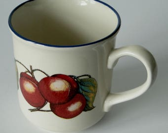 Staffordshire, Tableware, Stoneware, Coffee Mug, Cherries, Vintage Mug