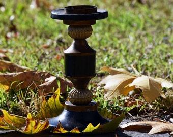 Vintage black candlestick, Black holder, Old candlestick, Retro candlestick, Antique candleholder, Country cottage decor, Elegant accessory