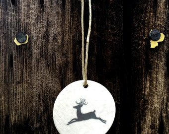 Round Reindeer Christmas Ornaments, Unique Ornaments, Handmade Ornaments, White Christmas Ornaments, Ceramic Christmas Ornaments, Deer