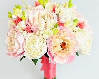 Clay flowers bouquet Hand bouquet Bridal bouquet Clay flowers