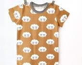 Clouds T shirt, kids cute t-shirt in mustard, modern toddler hipster shirt - 0 to 6 T
