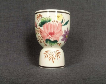Vintage Double Egg Cup, Painted Flowers