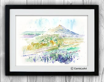 Original Watercolour  Landscape Roseberry Topping.Landscape painting.Countryside  painting.autumn art.North Yorkshire,Moors, UK Landscape