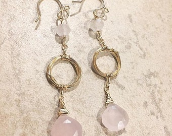 Pink Chalcedony, Rose quartz & 14k Gold Earrings