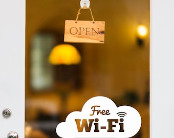 Cloud Wifi Door Decal, Cloud Wifi Window Decal, Free Wifi Sticker, Custom Storefront Decal, Office Sign, Wifi Sign, Internet Decal