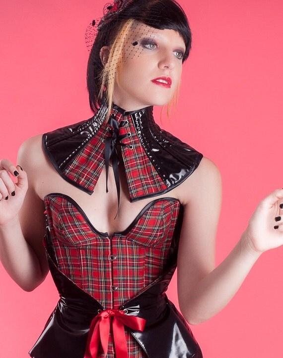 Red black neck corset Style Institutrice Sample sale Fetish schoolgirl posture collar Pvc gothic collar Plaids choker Tartan checks collar