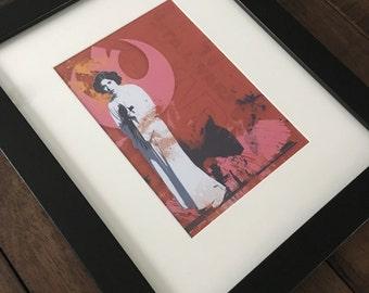 Princess Leia Inspired Framed Art, Star Wars Inspired Wall Decor, Kids Room Decor, Man Cave Decor, Gift for Her, Baby Shower Gift