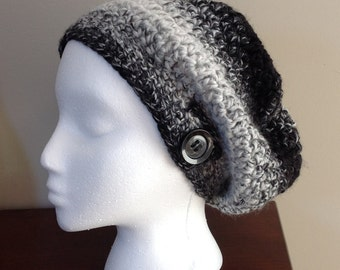 Black, white and grey slouchy crocheted hat