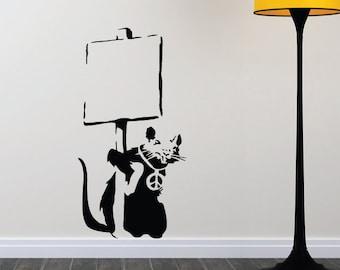 Banksy Wall Art Decal/Wall Sticker - Rat Holding a Sign, Street Art, Home Decor Christmas Gift