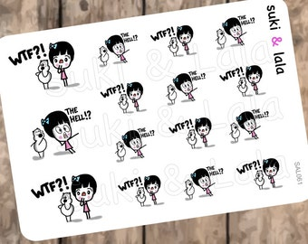 WTF Planner Stickers, The Hell Planner Stickers, Expressions Planner stickers, Shocked Planner Stickers, WTH Planner Stickers (SAL061)