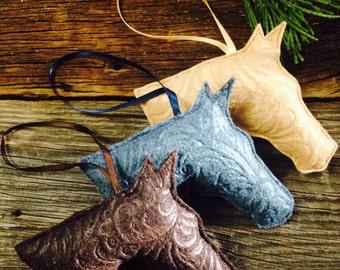 Felt horse head ornament