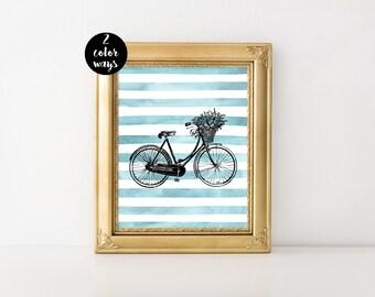 Bike Print, Bicycle Art, Watercolor Print, Bike Art, Bike Printable, Bicycle Poster, Boho Print, Printable Art, Instant Download
