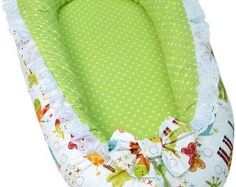 Newborn nest, Baby nest bed, Newborn gift, Newborn photo prop, Green baby nursery, Zoo animal nursery, Baby bed, Unisex baby nest