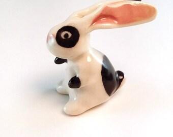 Miniature porcelain black white bunny rabbit, ceramic rabbit black spots, collectable figurine, ready to ship