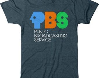 PBS Public Broadcasting System Vintage Logo Mens Tri-blend T-shirt