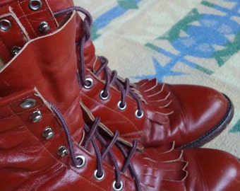 Justin Size 6 Lace Up Boots - Alternative to combat boots! Great color and in great shape for the age