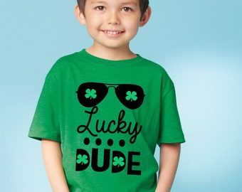 Boys St. Patrick's Day Shirt, Lucky Dude, Shamrock Shirt, Fine Jersey Tee, Boys Youth Tshirt, St Patricks Outfits, Kids Clothing