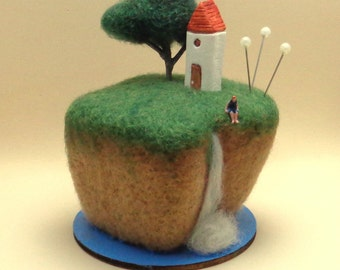 Miniature scene with Cliffs and Waterfalls 1:150scale-Diorama home decor-Needle felted wool-Original Pincushion-Wonderful gift-READY TO SHIP