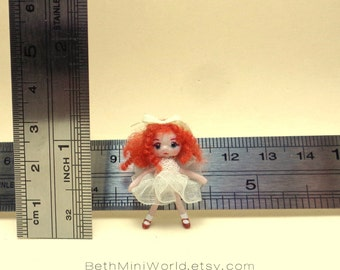 Dollhouse Toy Miniature- 1:12 scale- Tiny redhead toy doll- Hand Sculpted- OOAK-Ready to Ship