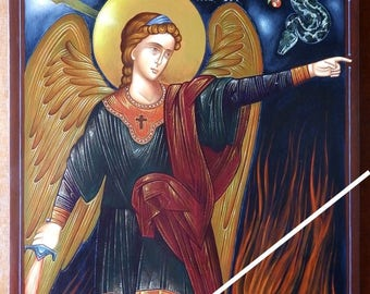 Angel with flaming sword, orthodox byzantine icon, original hagiography, hand painted on request, Άγγελος με πύρινη ρομφαία, ορθόδοξη εικόνα