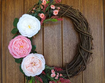 Cabbage Rose Grapevine Wreath