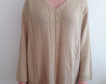 Vintage Beige Light Brown Comfortable Comfy Loose Fitting Long Sleeve Pullover Shirt Woman
