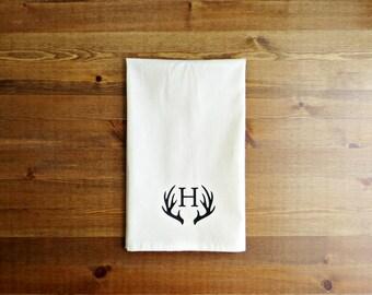Deer Antler Initial Decorative Kitchen Towel // Unbleached Cotton Muslin