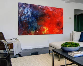 Colorful Abstract Painting Palette Knife Wall Art Canvas Oil Painting Large Decor Painting Canvas Abstract Decor Colorful Large Art Decor