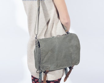 Canvas Bag Messenger Bag, Army Bag Cross Body Bag, Vintage Military Bag 1980's, Canvas Messenger Bag, Cross Body Bag