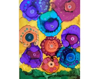 Fantasy Flowers Wall Decor Original Alcohol Ink Painting