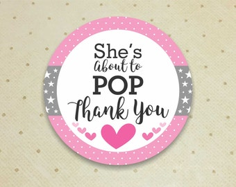 Printable Baby Shower Favor Thank You Tags for Girls. She's About to POP Thank You Tags. Baby Shower. Thank You Tags. It's a Girl.