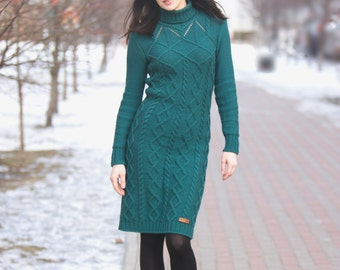 Hand knit aran style dress, merino wool cable dress, long sleeves turtleneck, made to order, custom hand knit stylish dress
