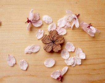 Hand carved Sakura/ Cherry blossom Wood Necklace