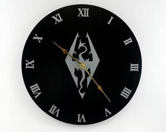 Elder Scrolls Inspired Silver Dragon Clock, Silent Wall Clock