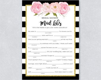 Bridal mad libs / Bridal shower game / Gold Glitter / Blush watercolor / Black and white stripe / DIY Printable / INSTANT DOWNLOAD