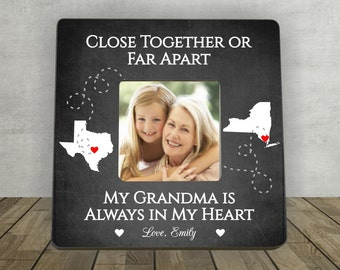 Gift for Grandma, Christmas Gift for Grandma, Grandmother Gift,Personalized Picture Frame,Close Together or Far Apart Grandma,Long Distance