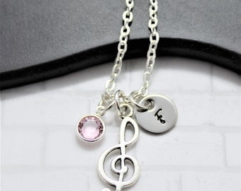 Music Note Necklace - Treble Clef - Music Symbol - Gift For Musician - Silver Music Necklace