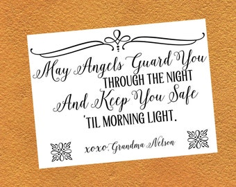 "Personalized Quilt Label / May Angels guard You  / Printed Quilt Label / Custom Quilt Label/ Ready to applique / 4x3"" label"