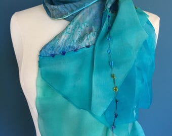 Turquoise Blue Cascading Silk Scarf; Waterfall Silk Scarf; Special Occasion Scarf, Special Gift Scarf, Gift Scarf, Birthday Scarf