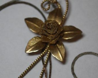 Vintage Rose Slider Necklace - Lariat Style - Gold Tone J2-019