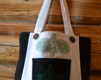 Denim Celtic Knot Tote, Black/White Bag w/ Green Celtic Knots, Handstitched Celtic Knot Tote w/ Pocket