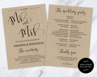 Wedding Programs Instant Download - Mr and Mrs Black & White Print on Kraft -  Ceremony Program -Downloadable wedding #WDH0131