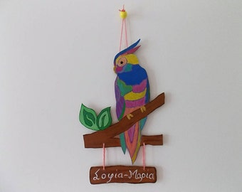 Parrot Sign, Tropical Parrot, Jungle Animal, Girls Door Sign, Kids Decor, Personalized Gift, Colourful Parrot, Birthday Gift, Hand-painted