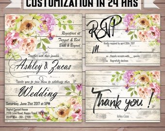 DIGITAL, Wedding invitation rustic diy, Rustic wedding invite set, Printable wedding invite, rsvp card, wedding THANK YOU card #Wedding_04.2