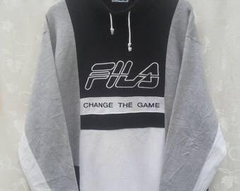 Vintage FILA Sweatshirt// Color Block// Spellout Big// Size L// Fila Crewneck// Made in Japan
