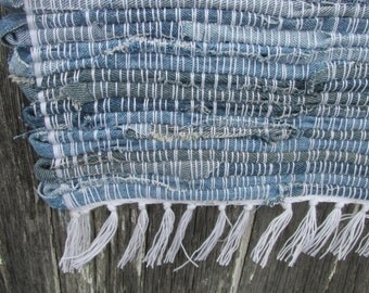 "Blue Sky Country 26""x 27""Handwoven Denim Rug, denim rag rug, blue rag rug, rag rug, blue jean rug, jean rug, woven jean rug, woven denim rug"