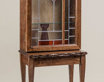 Lighted Display Cabinet (Stained Glass) with Live Edge Base