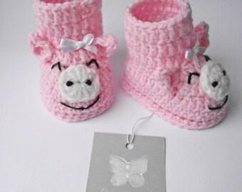 crochet baby piggies booties pink, crochet baby girl booties, crochet booties, baby booties, baby boots, crochet boots